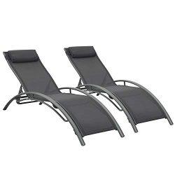 Ainfox Adjustable Chaise Lounge, Patio Reclining Elegant Lounge Chair Recliners Aluminum Sunbath ...