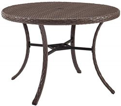 Crosley Furniture CO7239-DW Tribeca Outdoor Wicker Round Dining Table, Driftwood