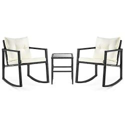PAMAPIC 3 Piece Outdoor Furniture Rocking Chair, Weather Black Wicker Bistro Set with Seat and B ...