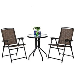 Goplus 3 Piece Bistro Set All Weather Patio Furniture Indoor & Outdoor Garden Round Table an ...