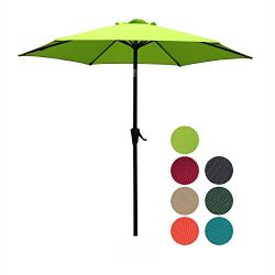 Patiorama 7.5 Feet Outdoor Patio Umbrella with Push-Button Tilt and Crank, 6 Ribs, Polyester Can ...