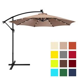 Best Choice Products 10ft Solar LED Offset Patio Umbrella w/Easy Tilt Adjustment – Tan