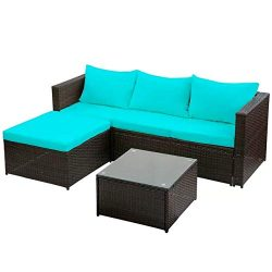 Merax 3-Piece Outdoor Patio Furniture Set Cushioned PE Rattan Sectional Garden Sofa – Blue ...
