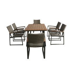 Christopher Knight Home Loren Outdoor 7 Piece Aluminum and Wicker Dining Set with Wood Top, Natu ...