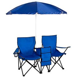 Best Choice Products Picnic Double Folding Chair w Umbrella Table Cooler  Fold Up Beach Camping  ...