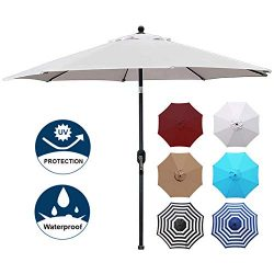 Blissun 9′ Patio Umbrella Aluminum Manual Push Button Tilt and Crank Garden Parasol (Grey)