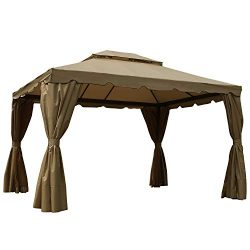 MASTERCANOPY 10×12 Patio Rome Gazebo Canopy Soft Top with Mosquito Netting and Walls, GHGM- ...