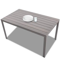 KARMAS PRODUCT Patio Dining Table Outdoor Aluminum Rectangle Table,All Weather Resistant,Size 55 ...