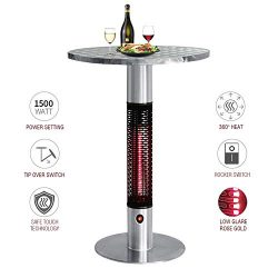 Skypatio Bistro Table Infrared Electric Outdoor Heater,Patio Heating Tower with Golden Tube LED  ...