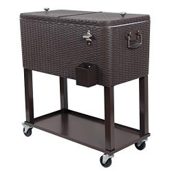 UPHA 80 Quart Rolling Outdoor Patio Cooler Cart on Wheels, Wicker Pattern Portable Drink Beverag ...