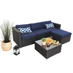 PHI VILLA 5 Piece Patio Rattan Furniture Set Outdoor Furniture Wicker Sofa Conversation Sofa Set ...