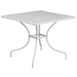 Flash Furniture CO-6-WH-GG Metal 35.5SQ White Patio Table,