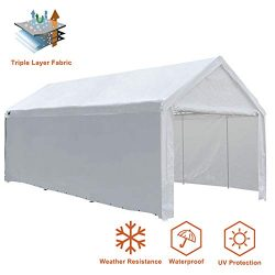 Eurmax Outdoor Patio 10 x 20 Ft Heavy Duty Carport, Car Canopy Shelter with Removable Side Panel ...