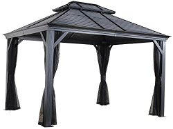 Sojag 12′ x 14′ Mykonos Double Roof Hardtop Outdoor Sun Shelter Gazebo, Black