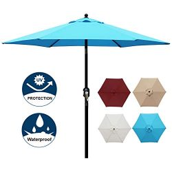 Blissun 7.5 ft Patio Umbrella, Yard Umbrella Push Button Tilt Crank (Light Blue)