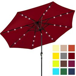 Best Choice Products 10ft Solar Powered LED Lighted Patio Umbrella w/Tilt Adjustment, Fade-Resis ...