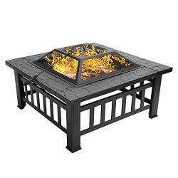 """Bonnlo 32"""" Fire Pit Outdoor Wood Burning Table Backyard, Terrace, Patio, Camping – Include ..."""