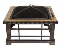 UPHA 30-inch Square Natural Slate Top Fire Pit Table with Rubbed Bronze Side Panels for Outdoor  ...