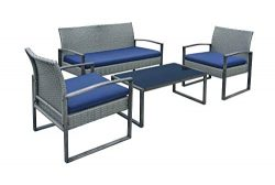 Stellahome Wicker Patio Furniture Outdoor Conversation Sets 4 Piece Cushioned Chairs Table Bistr ...