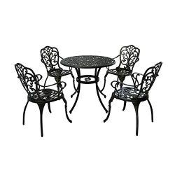 Great Deal Furniture 305416 Zona Outdoor 5 Piece Cast Aluminum Dining Set, Shiny Copper