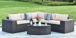 Gotland 6-Piece Outdoor PE Rattan Sectional Sofa Wide Armrest Patio Garden Wicker Furniture Set, ...