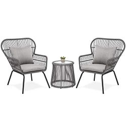 Best Choice Products 3-Piece Outdoor All-Weather Wicker Conversation Bistro Furniture Set for Pa ...
