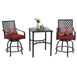 PHI VILLA Bistro Set Outdoor Bar Height Swivel 2 Patio Chairs and 1 Metal Top Table,Seat Cushion ...