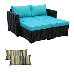 3-Piece Patio Wicker Conversation Furniture Set,Outdoor PE Rattan Sectional Loveseat and Ottoman ...