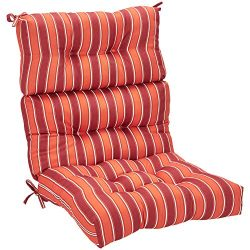 AmazonBasics High Back Chair Patio Cushion- Red Stripes