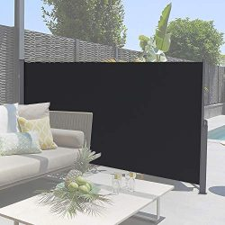 soges 71″ H Patio Side Awning Privacy Screen Sun Shade and Wind Screen, Black XJJH-H038-318B