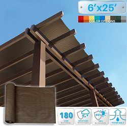 Patio Paradise 6′ x 25′ Sunblock Shade Cloth Roll,Brown Sun Shade Fabric 95% UV Resi ...