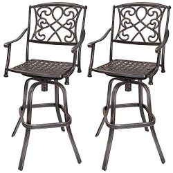 COSTWAY Bar Table and Stool Set Cast Aluminum Vintage Retro Design Patio Outdoor Garden Bistro F ...