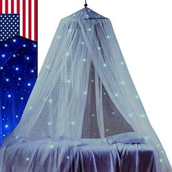 STZ Bed Canopy for Princess Girls Room Decorations with Fluorescent Stars Glow in Dark -Reading  ...