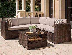 Solaura Outdoor 4-Piece Sofa Sectional Set All Weather Brown Wicker with Beige Waterproof Cushio ...