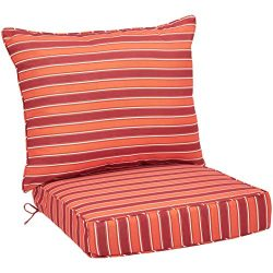 AmazonBasics Deep Seat Patio Cushion- Red Stripes