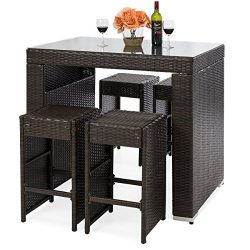 Best Choice Products 5-Piece Outdoor Wicker Dining Bar Table Set w/Stools (Brown)