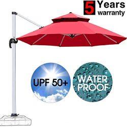 Patiassy Heavy Duty Windproof Patio Outdoor Umbrella, Heavy Duty 11 Feet Waterpoof Double Top Ha ...