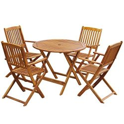 Festnight 5 Piece Wooden Outdoor Patio Dining Set Round Folding Table with 4 Foldable Chairs Euc ...