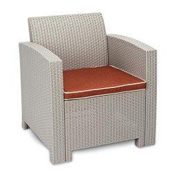 Caliybrid Outside Patio Furniture Sofa, 1pcs Garden Sofa Set Conversation Sets Gray White- Cushi ...