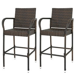 LEMY Outdoor Brown Wicker Rattan Bar Stool All-Weather Patio Furniture Chair Set with Armrest an ...