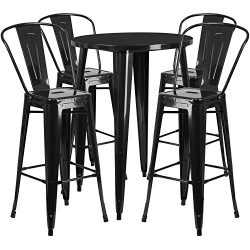 "Flash Furniture 30"" Round Black Metal Indoor-Outdoor Bar Table Set with 4 Cafe Stools"