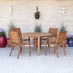 Amazonia Arizona 5 Piece Round Outdoor Dining Set |Super Quality Eucalyptus Wood| Durable and Id ...