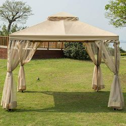 Sunnyglade 10′ x10′ Gazebo Canopy Soft Top Outdoor Patio Gazebo Tent Garden Canopy f ...