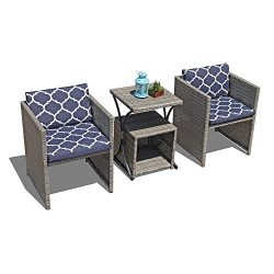 OC Orange-Casual 4 PCS Wicker Bistro Set Conversation Set with Cushions Patio Furniture Set All- ...