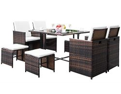 Civil 9 Piece Outdoor Patio Furniture Wicker Rattan Dining Table Set with Cushions for Garden La ...