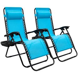 Devoko Patio Zero Gravity Chair Outdoor Free Folding Adjustable Chaise Lounge Chairs Beach Pool  ...