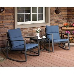 COSIEST 3-Piece Outdoor Patio Furniture Rocking Chairs Bistro Set w Blue Cushions, Glass-Top Tab ...