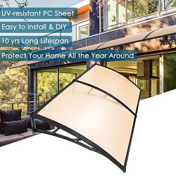 Yescom 79×40″ Door Window Outdoor Awning 2 Whole Hollow Polycarbonate Sheets Cover UV ...