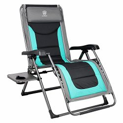 EVER ADVANCED Oversize XL Zero Gravity Recliner Padded Patio Lounger Chair with Adjustable Headr ...