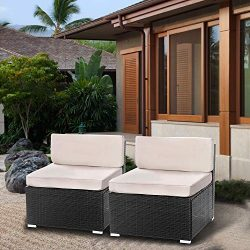 Aclumsy 2 Pieces Patio sectional Sofa Set (2 Pieces, Black)